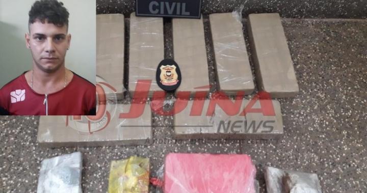 Jovem é preso com aproximadamente 10 kg de droga em Juína