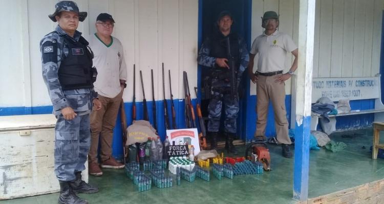 Polícia Militar de Juína apreende armas e munições em operação com a SEMA