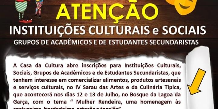 Casa da cultura de Juína convoca instituições sociais para comercialização de alimentos no Sarau