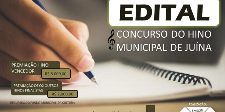Juína lança edital para concurso do hino municipal com premiação de 8 mil reais ao vencedor