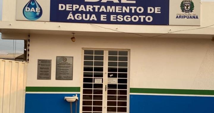 DAE de Aripuanã informa sobre interrupção de fornecimento de água