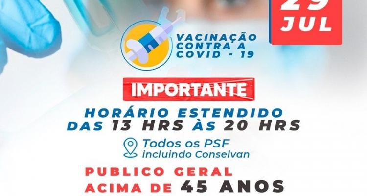Vacinação Covid:19 Unidades de Saúde vão funcionar em horário estendido nesta quinta-feira